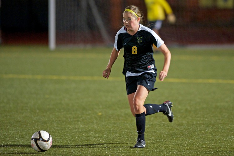 Gustavus junior Estee Berg controls the ball in the Gusties' 2-1 win over Saint Mary's on Wednesday night.