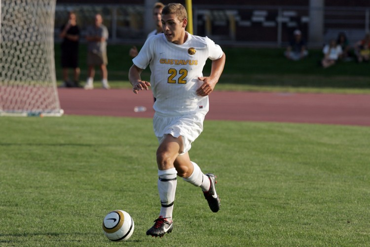 Zach Brown named MIAC Men's Soccer Player-of-the-Week.  Photo courtesy of AJ Dahm - Sport Pix.