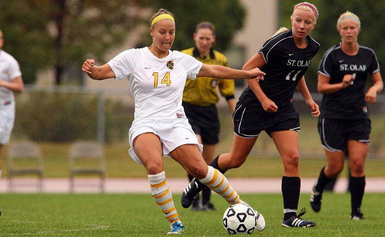 Junior defender Karlye Smith in control during Wednesday's 2-0 loss to St. Olaf