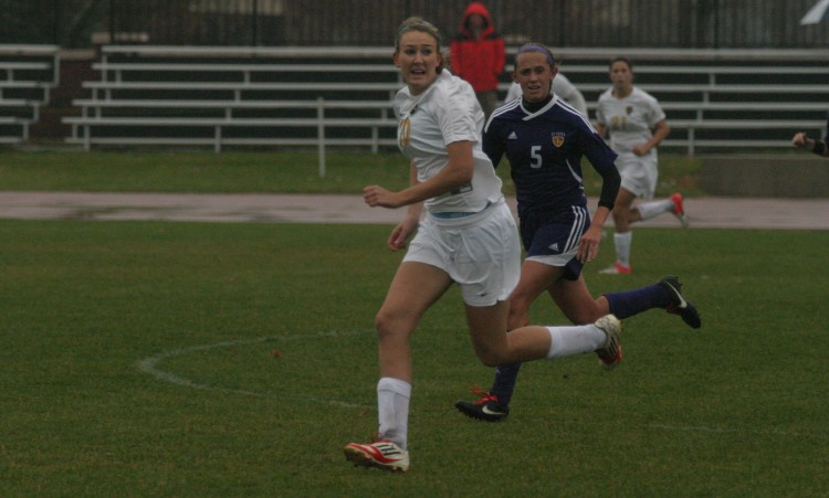First-year Brittany Chase tracks down a pass on Wednesday in St. Peter.