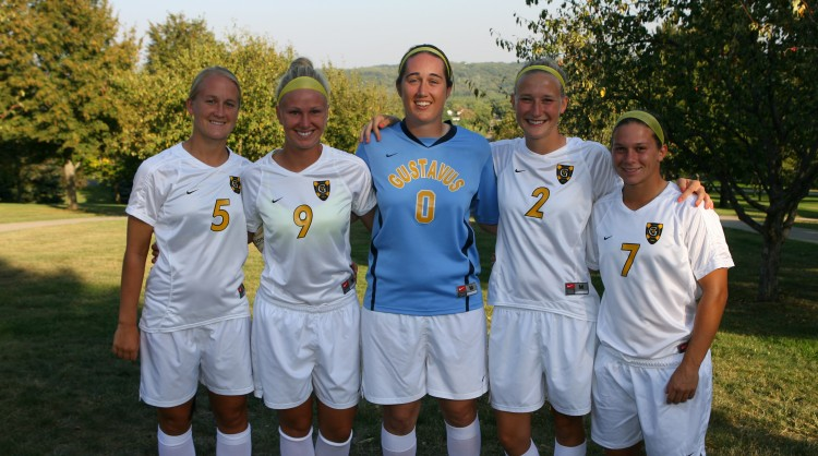 The 2012 women's soccer seniors, from left to right: Nikki Carlson, Kristin Moen, Jessica Richert, Maggie Lane, Tam Meuwissen (Photo courtesy of Sport Pix Photography)