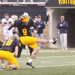 Kicker Tom Huepenbecker will play Carleton for the last time in his career on Saturday.  His senior class is 3-0 against the Knights over their tenure.  Photo courtesy of AJ Dahm - Sport PiX.