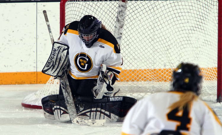 Lindsey Hibbard stopped all 16 shots that came her way in Gustavus' 1-0 win over St. Thomas on Saturday. Photo courtesy of A.J. Dahm - Sport PiX.