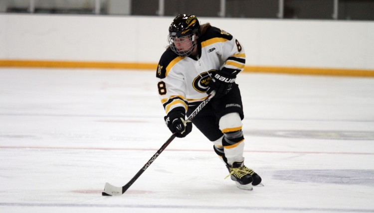 First-year Allison Eder-Zdechlik scored her first collegiate goal (photo courtesy of Dan Coquyt `14, Gustavus Sports Information)