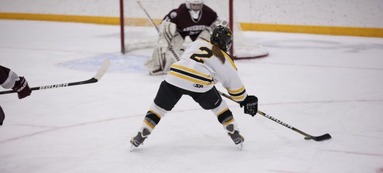 Meagan Wanecke lines up one of her two goals on the night (photo courtesy of Andrew Vold `14)