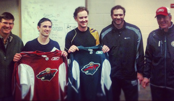 Gustavus goaltender Josh Swartout (on right) alongside other finalist Treye Kettwick after being selected as finalists following last night's tryout.  Photo courtesy of the Minnesota Wild.