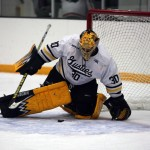 Sophomore goaltender Patrick Sullivan notched 39 saves in Saturday night's win (photo courtesy of Andrew Vold `14, Gustavus sports information).