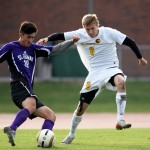 Senior Lucas Thompson will lead Gustavus powerful back line into the NCAA Tournament this weekend in Northfield. Photo courtesy of AJ Dahm - Sport PiX.