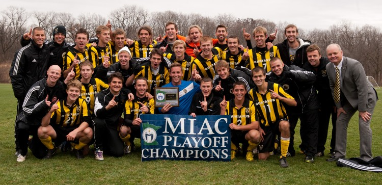 The 2012 MIAC Playoff Champions (Photo courtesy of Niko Duffy, Carleton Sports Information).