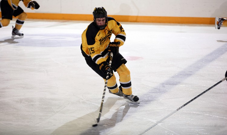 Junior forward Adam Smyth scored his second career hat trick in Gustavus' 4-3 victory over Lawrence on Friday night at Don Roberts Ice Rink.