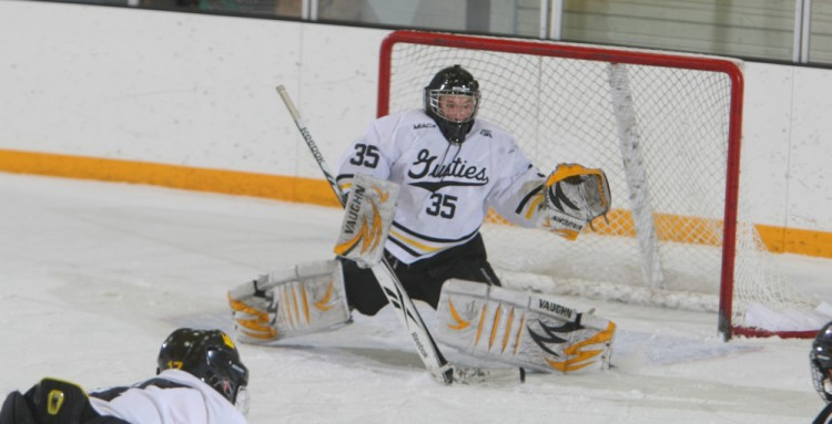 Tyler Venne and the rest of the Gustavus men's hockey team will look for a strong finish to 2012 at home this weekend against Lawrence and UW-Superior. Photo courtesy of Sport PiX.