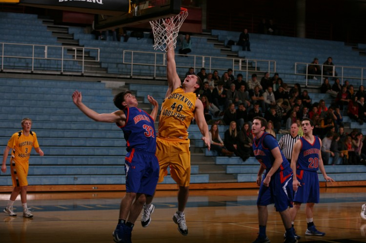 Reed Sallstrom contributed 11 points and five rebounds. (Photo courtesy of Ethan Armstrong, Gustavus Sports Information)