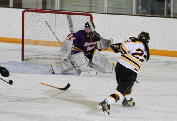 Marissa Brandt snipes her first goal of the season.
