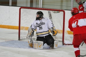 Tyler Venne made several key saves late in Saturday night's game to held the Gusties salvage a come from behind tie.