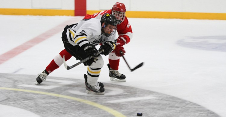 Andy Pearson fights off a Johnnie defender as he races for a loose puck.
