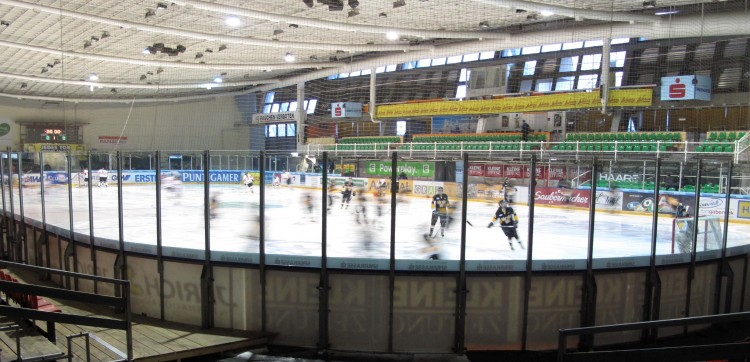 The Gustavus women's hockey team in warm-ups before its game with the Austrian national team in Graz. Photo courtesy of Steve Carroll.