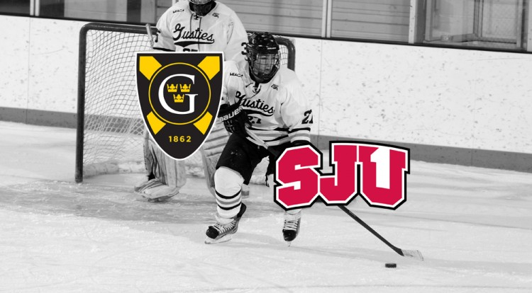 Brenden Baker and the Gustavus men's hockey team is set to head back into MIAC play this weekend against Saint John's.  Photo courtesy of Sport PiX.