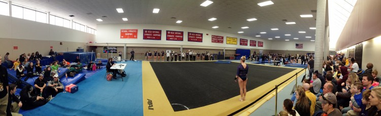More than 200 spectators packed into the Lund Center Gymnastics Studio to watch today's Gustie Triangular.