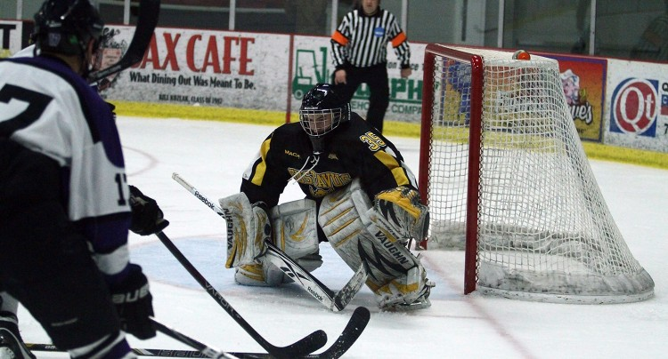 Tyler Venne turned away 24 shots in Gustavus's 1-0 win over St. Thomas in the MIAC Semifinals on Saturday night. Photo courtesy of Ryan Coleman - d3photography.com