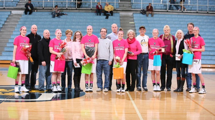 The 2012-13 Gustavus women's basketball seniors were honored as a part of Senior Day before today's game.