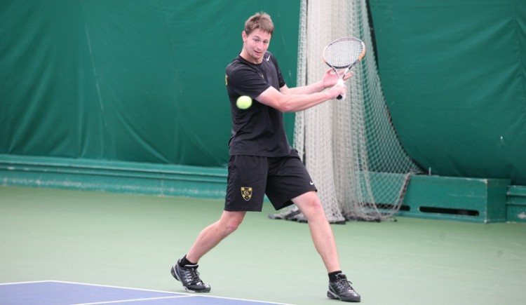Grant Leisner steps into a back-hand. (Photo courtesy of Tyler Grey)