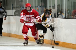 Brianna Seebold battles with a Cardinal player on the boards.