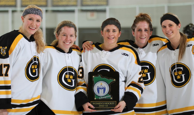 Gustavus seniors with the MIAC Championship trophy (L to R: Lindsey Hjelm, Kelsey Kennedy, Kayla Ingbretson, Meagan Wanecke, Jenna Christensen)