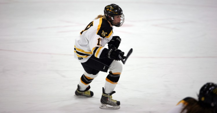 Lindsey Hjelm scored two goals on the night to lead Gustavus. (Photo courtesy of Griffin Spier `16).