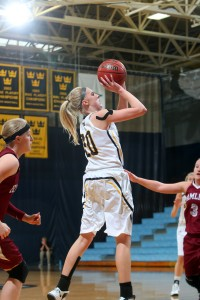 Britta Rinke led the Gusties with 17 points off the bench in their last meeting with Hamline. Photo courtesy of Sport PiX.