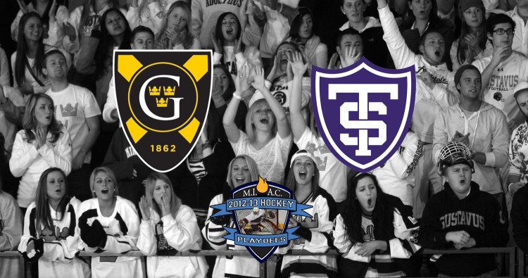The Gustavus student-body came out in full force for last night's opening round playoff game against St. Olaf.  Photo courtesy of Sport PiX.