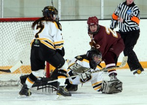 Lindsey Hibbard recorded 16 saves on the afternoon. (Photo courtesy of Bridget Larson - Sport Pix Photography)