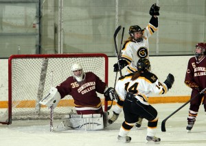 Gustavus celebrates a goal (Photo courtesy of Bridget Larson - Sport Pix Photography)