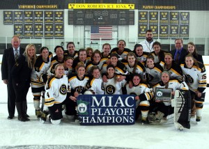 The Gusties are MIAC Playoff Champions for the 10th straight time. (Photo courtesy of Bridget Larson - Sport Pix Photography)