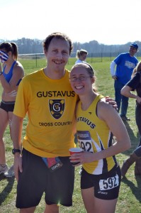 Beth Hauer along with assistant coach Brenden Huber at the 2012 NCAA Cross Country Championships. Photo courtesy of Dillon Emo.