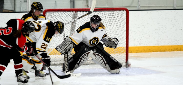 First-year goalie Lindsey Hibbard turned away 21 UW-River Falls shots on the way to the victory. (Photo courtesy of Dan Coquyt `14, Gustavus Sports Information).