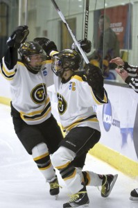 The Gusties celebrate their first goal (Photo courtesy of Dan Coquyt `14)