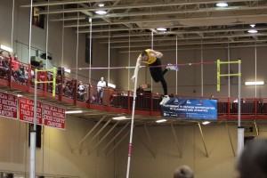 Owens goes over the bar at the NCAA Indoor Championships. Owens earns All-America accolades after a fourth place finish in the pole vault.