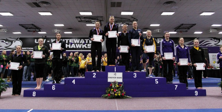 Jamie Ries earned NCGA All-America honors with her ninth place finish on the bars.