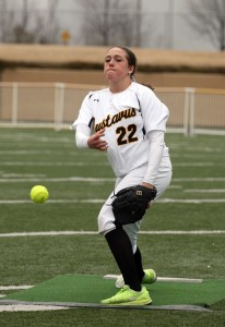 Sarah Rozell allowed two runs on five hits in a complete-game performance in game one.