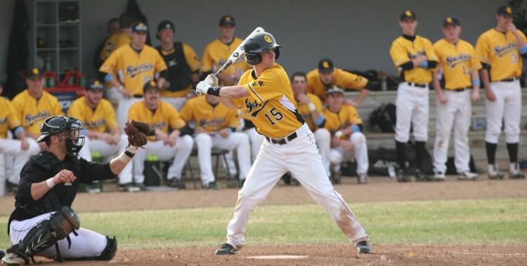 Max Fidler went 2-for-4 from the plate with three RBIs in Tuesday's sweep of St. Olaf (Photo courtesy of Maren Zach `16).