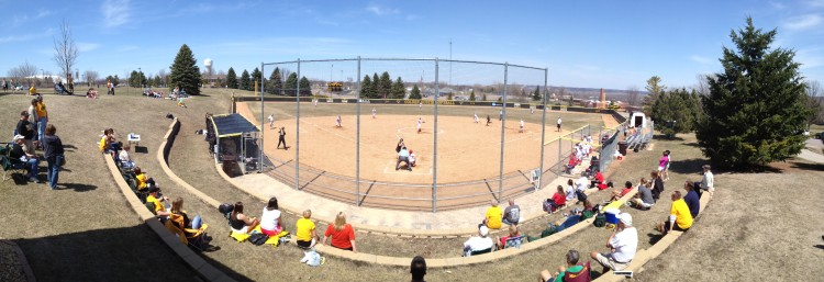 The Gustavus softball team played on its home field for the first time this season on Saturday against Saint Mary's.