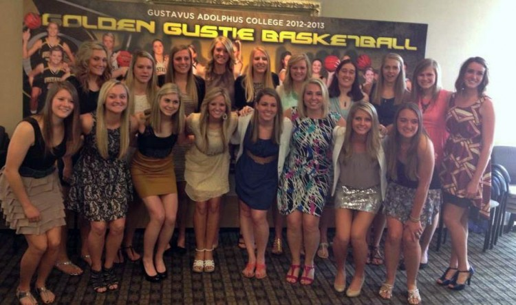 The 2012-13 Gustavus basketball team at its post-season awards banquet.