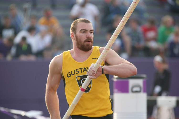 Senior Josh Owens took home the gold medal in the pole on day one of the 2013 MIAC Championships.