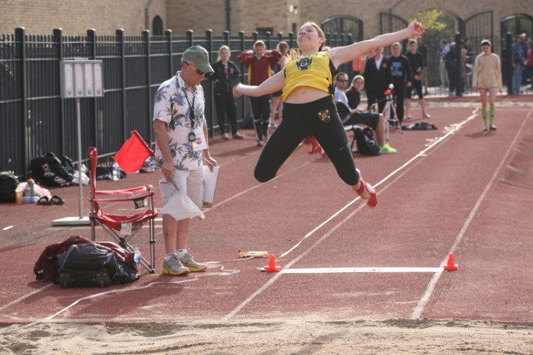 Lauren Rothschiller led the Gusties on day one with an All-Conference performance in the long jump.