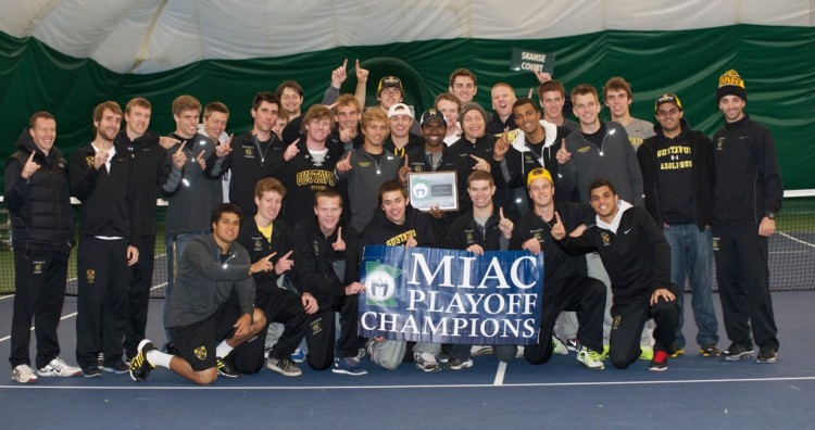 The Gustavus Men's Tennis Team claims their third consecutive MIAC Playoff Championship. Photo courtesy of Jeff Hunt.