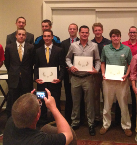 Coby Rowley, Tyler McMorrow, and Andrew Oakes on the All-American Scholar Team.