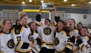 The Gustavus women's hockey team claimed the MIAC regular season and playoff title all four years of Hjelm's career.