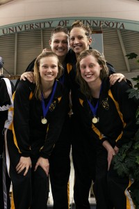 TInklenberg and the first place 400-free relay comprised of Sarah Hund, Katie Olson, and Jennifer Strom.