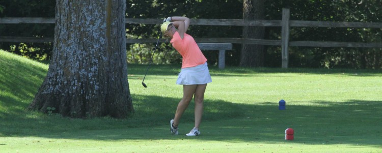 Junior Sam Falk (Glenwood, Minn.) tees off during Tuesday's qualifying round at Le Seuer Country Club.