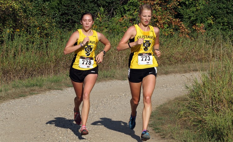 Juniors Rebecca Hare (left) and Caitlin Fermoyle (right) led the current Gusties at the Gustie Invite on Saturday morning.